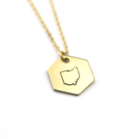 Ohio Hexagon - Brass State Stamped Necklace