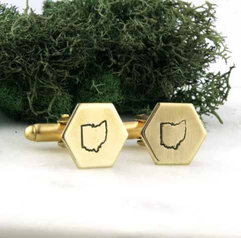 Ohio State - Brass Hexagon Cufflinks