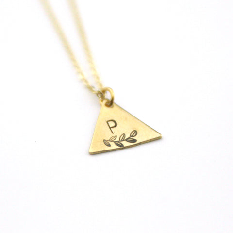INITIAL + LEAF P - Brass Stamped Necklace