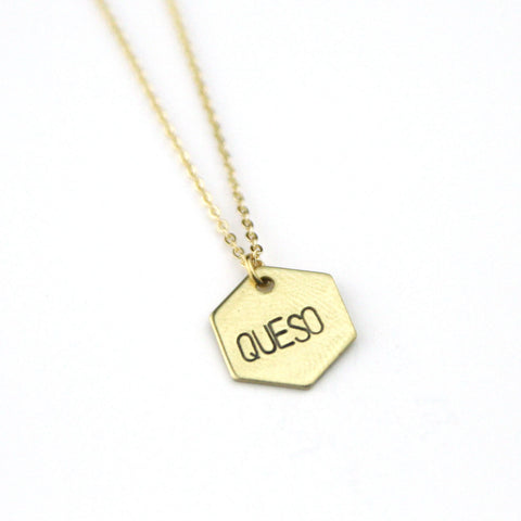 Queso Hexagon - Brass Stamped Necklace