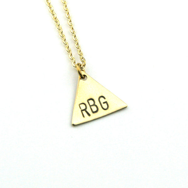 RBG Triangle - Brass Stamped Necklace