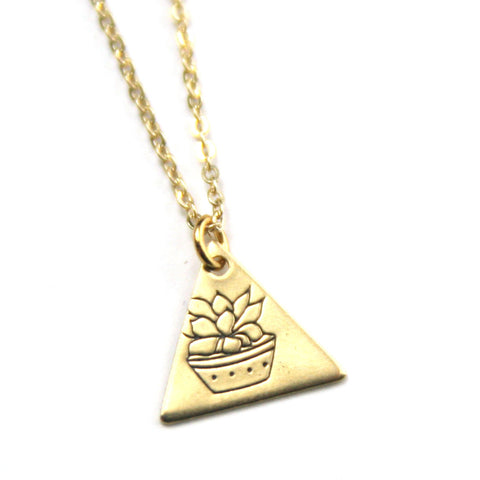 Short Succulent - Brass Stamped Necklace