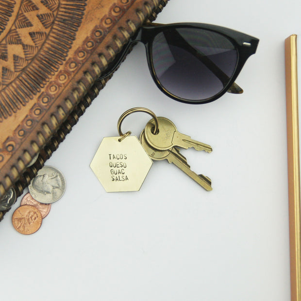 Tacos Queso Guac Salsa - Stamped Keychain 1