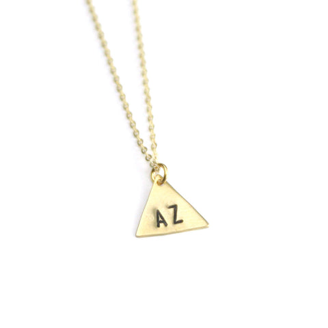 Custom State Triangle - Brass Stamped Necklace