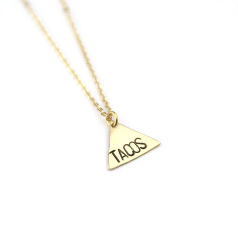 Tacos Triangle - Brass Stamped Necklace