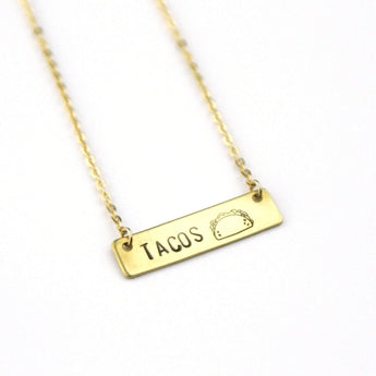 Tacos Emoji - Stamped Bar Necklace