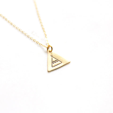Boho Tee Pee - Brass Stamped Necklace