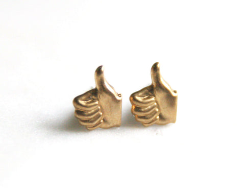 Thumbs Up - Brass Earrings
