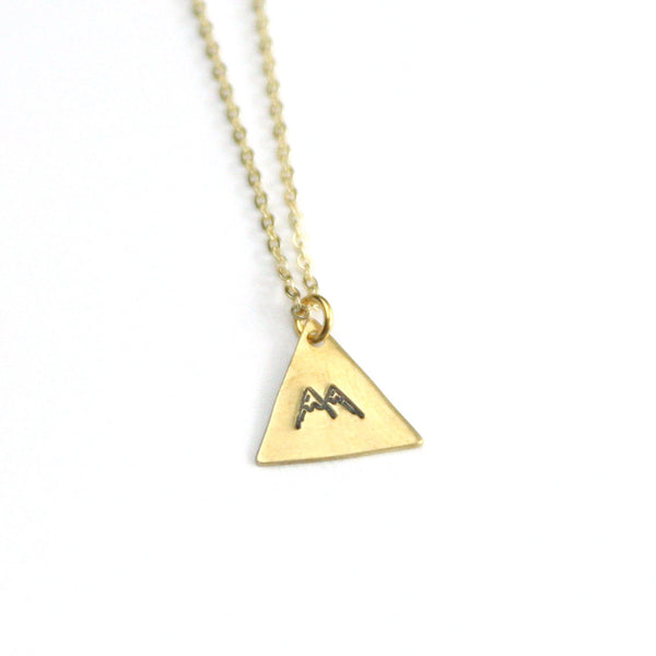 Mountain Peaks - Brass Stamped Necklace