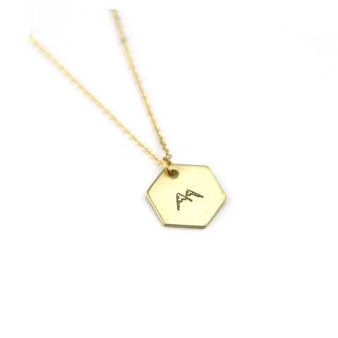 Mountain Peaks Hexagon - Brass Stamped Necklace