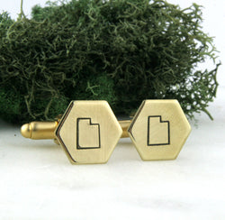 Utah State - Brass Hexagon Cufflinks