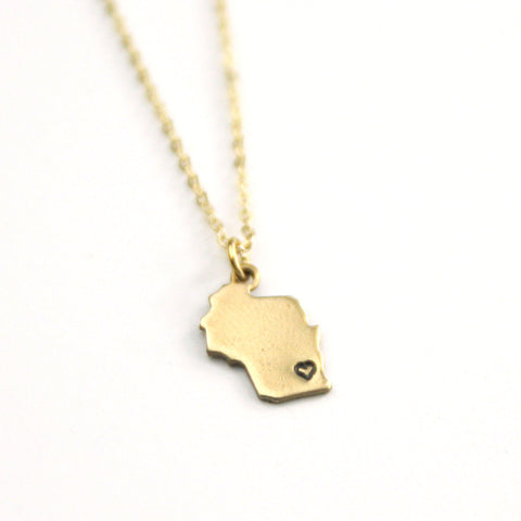 Wisconsin - State Heart Necklace