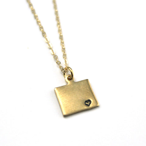 Wyoming - State Heart Necklace