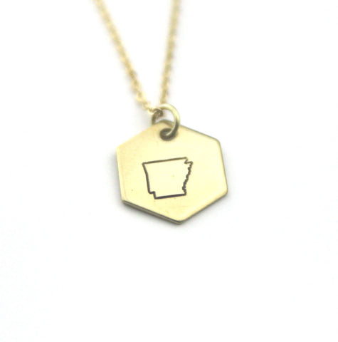 Arkansas Hexagon - Brass State Stamped Necklace