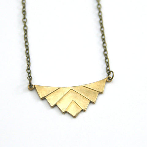 Art Deco Geometric - Brass Necklace