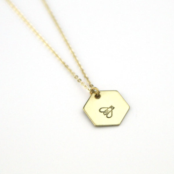Bee Hexagon - Brass Stamped Necklace