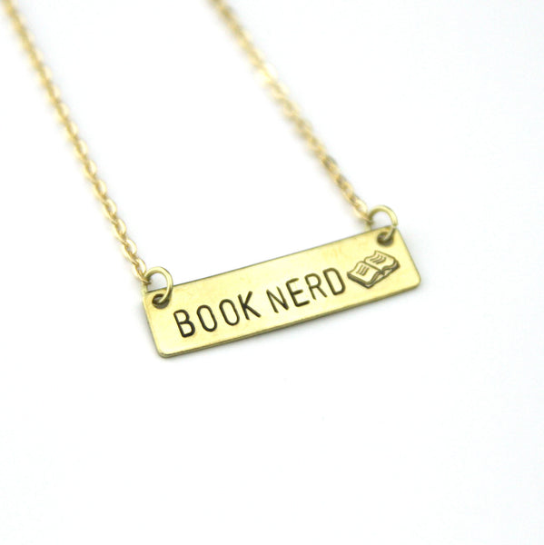 Book Nerd - Stamped Bar Necklace