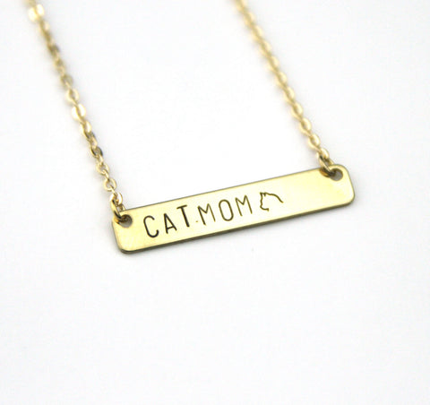 Cat Mom - Stamped Bar Necklace