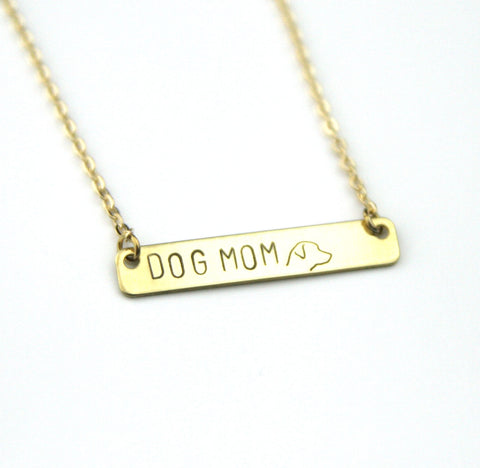 Dog Mom Profile - Stamped Bar Necklace