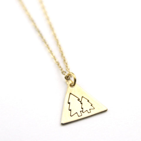 Pine Trees - Brass Stamped Necklace