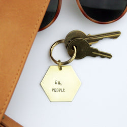 introvert keychain - brass stamped hexagon