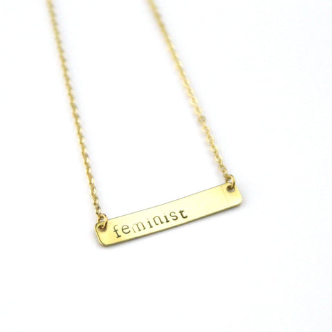 Feminist - Stamped Bar Necklace