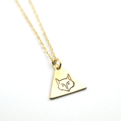 Fox - Brass Stamped Necklace