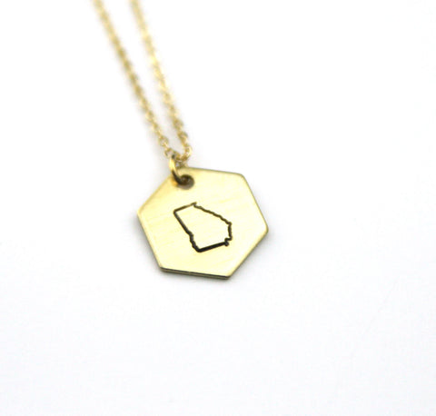 Georgia Hexagon - Brass State Stamped Necklace
