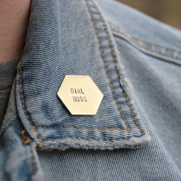 Girl Boss - Brass Stamped Pin