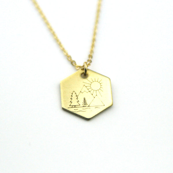 Great Outdoors - Brass Stamped Necklace