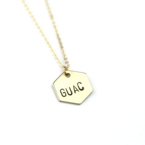 Guac Hexagon - Brass Stamped Necklace
