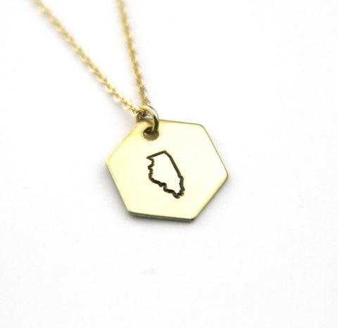 Illinois Hexagon - Brass State Stamped Necklace