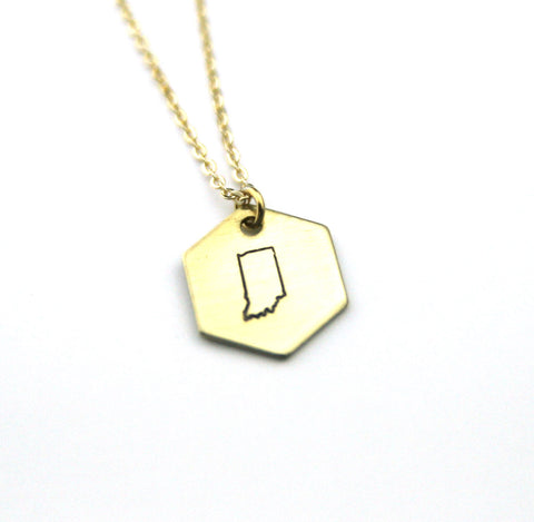 Indiana Hexagon - Brass State Stamped Necklace