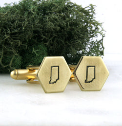 Indiana State - Brass Hexagon Cufflinks