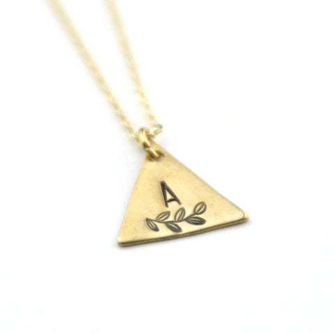 INITIAL + LEAF A - Brass Stamped Necklace