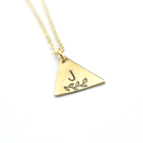 INITIAL + LEAF J - Brass Stamped Necklace