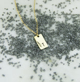 INITIAL + LEAF Rectangle - Brass Stamped Necklace