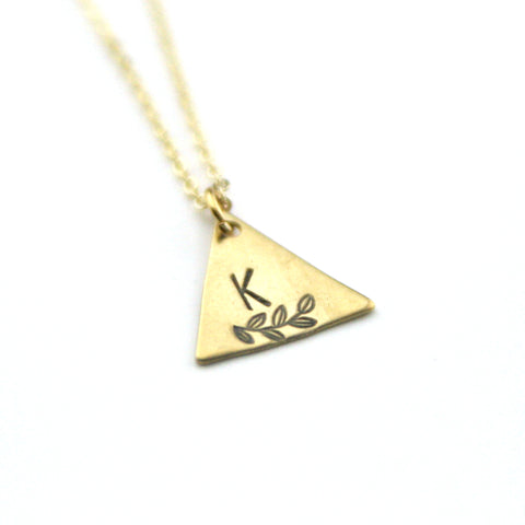 INITIAL + LEAF K - Brass Stamped Necklace