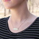 Texas with State Outline - Stamped Bar Necklace