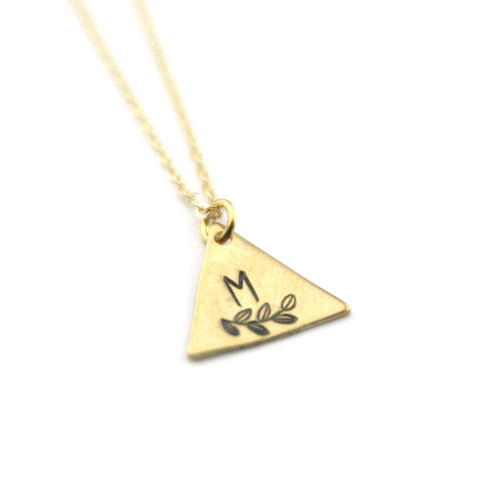 INITIAL + LEAF M  - Brass Stamped Necklace