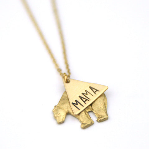 Mama Bear Layer - Brass Stamped Necklace