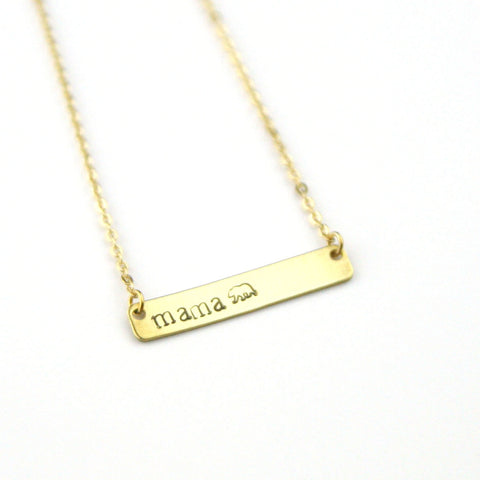 Mama Bear - Stamped Bar Necklace