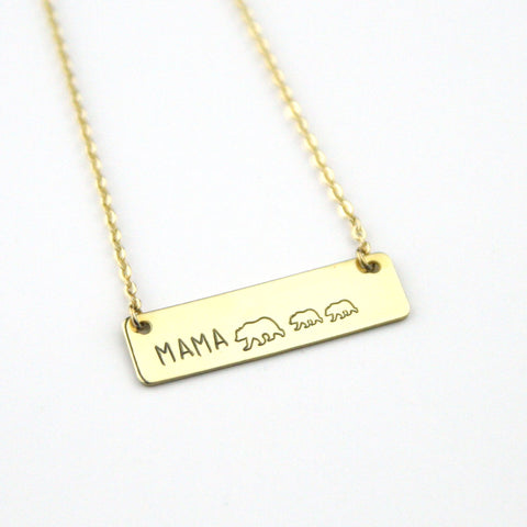 Mama Bear + Cubs - Stamped Bar Necklace