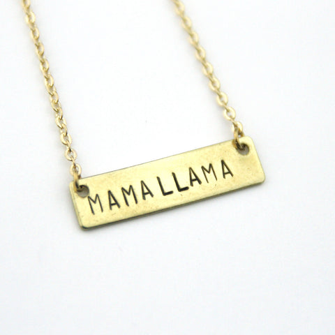 Mama Llama - Stamped Bar Necklace