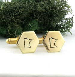 Minnesota State - Brass Hexagon Cufflinks
