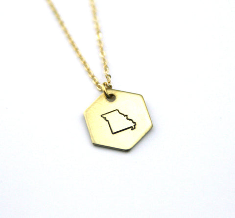 Missouri Hexagon - Brass State Stamped Necklace