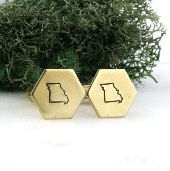 Missouri State - Brass Hexagon Cufflinks