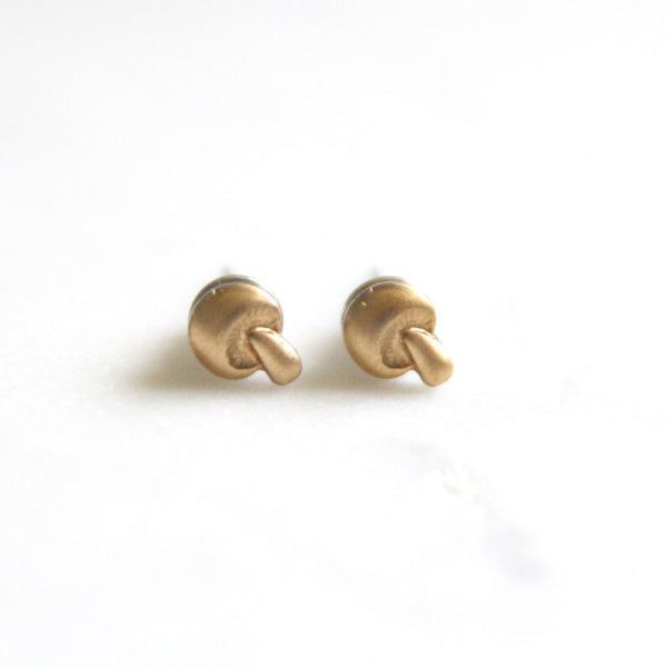 Mushroom - Brass Earrings