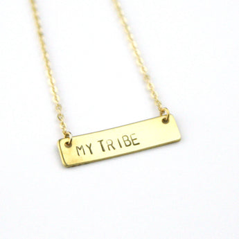My Tribe - Stamped Bar Necklace