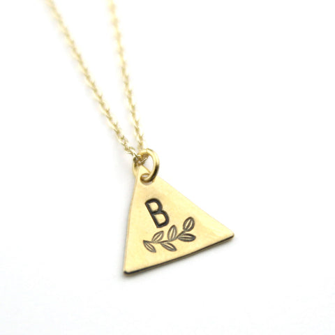 INITIAL + LEAF B - Brass Stamped Necklace